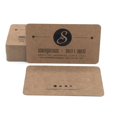Rounded Corner Business Cards - Recycled Brown Kraft 20pt Chipboard
