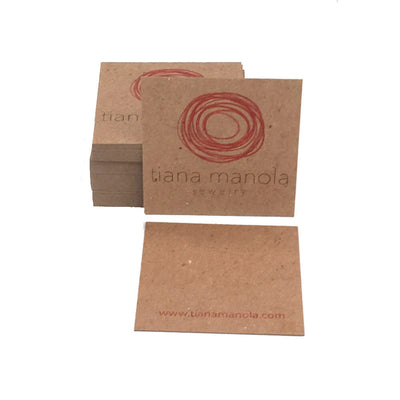 "2.5"" Square Recycled Business Cards Light Text"