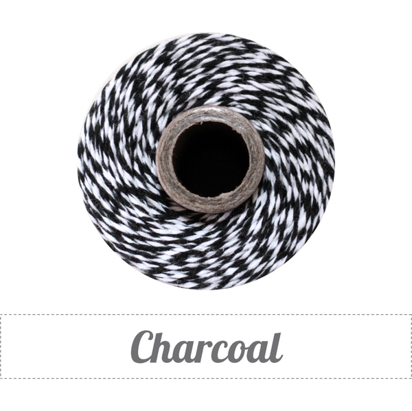 Bakers Twine - Twisted Charcoal Black and White Twine Spool