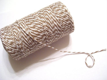 Bakers Twine - Twisted Cappuccino Brown and White Twine Spool - Perfect finish to a coffee gift card