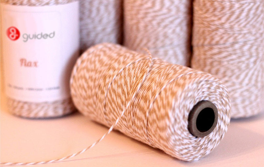 Bakers Twine - Twisted Flax Light Khaki and White Baker's Twine - USA Twine