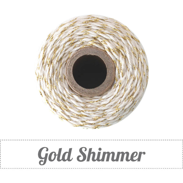 Bakers Twine - Twisted Shimmer Gold and White Twine Spool - Classic Gold and White