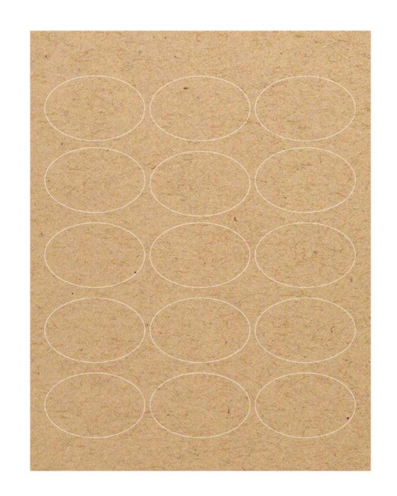 "Kraft Labels - Brown Oval (2.5"" x 1.75"") - Guided  - 1"