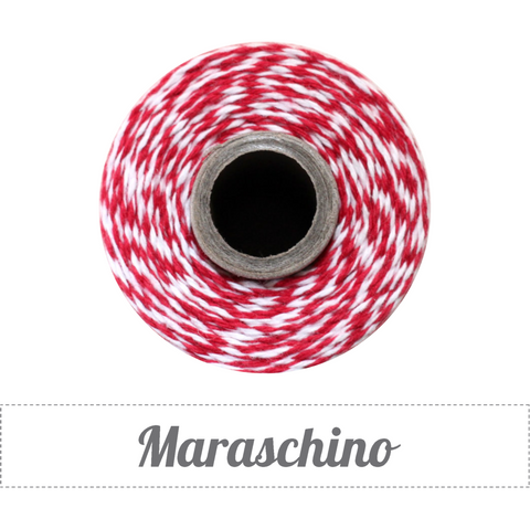 Bakers Twine - Twisted Maraschino Red and White Twine Spool
