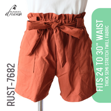 Load image into Gallery viewer, High Waist Paperbag Shorts (24 to 30 Inches Waistline)