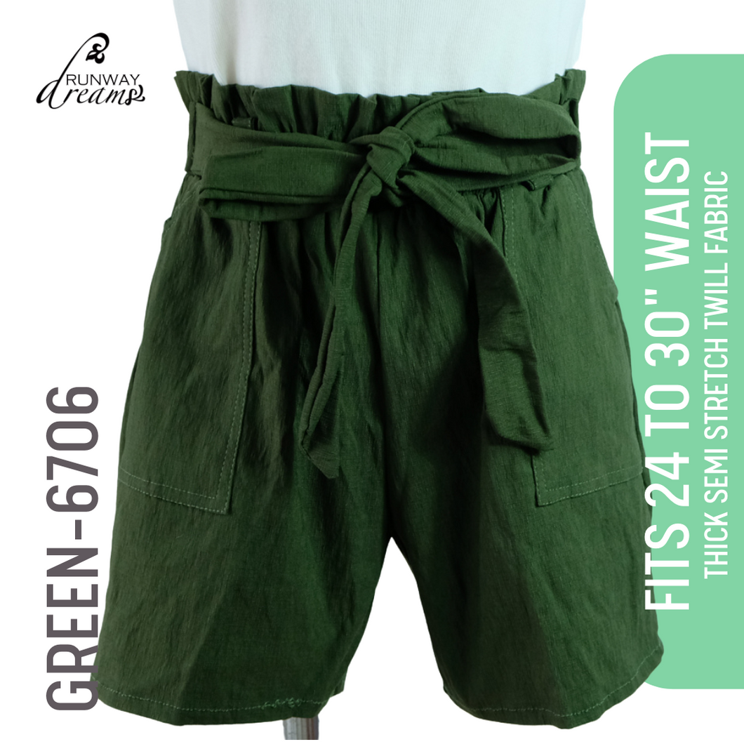 High Waist Paperbag Shorts (24 to 30 Inches Waistline)