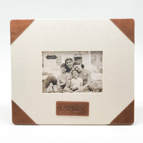 Family Linen & Leather Frame