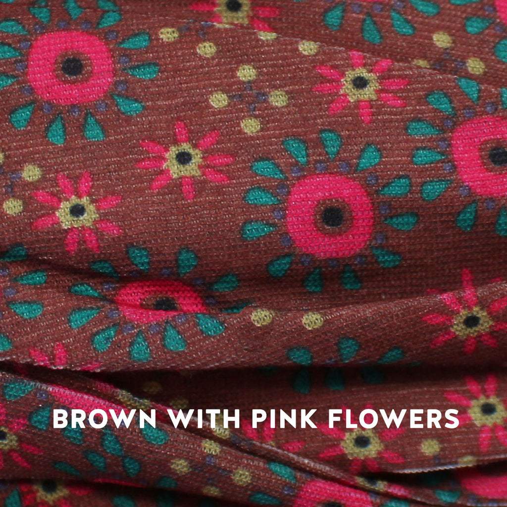 brown with pink flowers boho bandeau