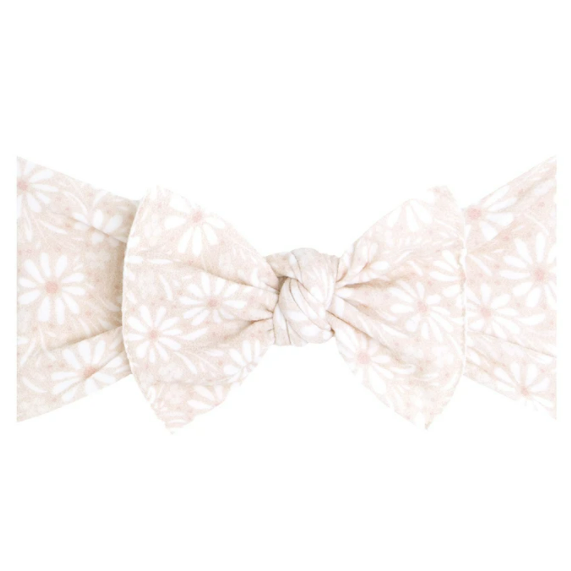 White Daisy Knot Headband