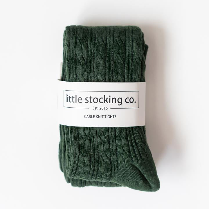 Dark Green Cable Knit Tights