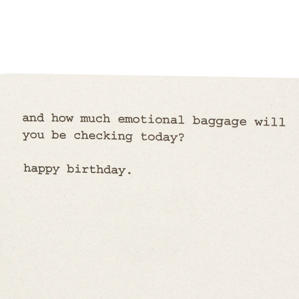 Emotional Baggage Birthday Card