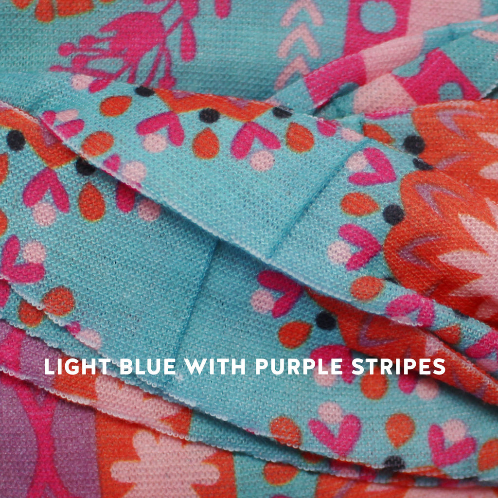 light blue with purple stripes boho bandeau
