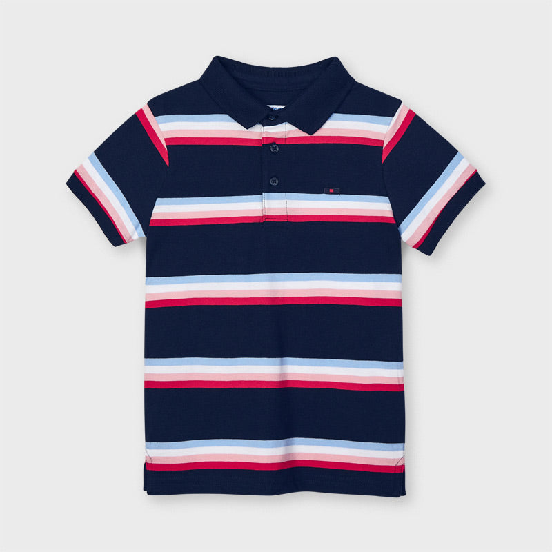Mayoral Navy Striped Polo Shirt