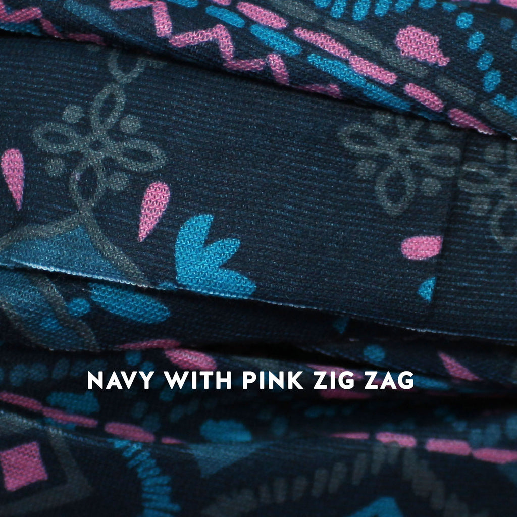 navy with pink zig zag