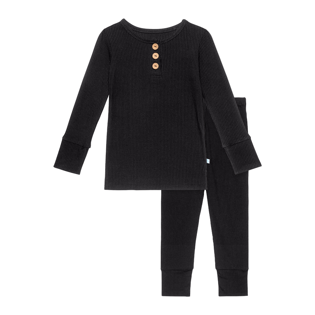 Black Ribbed Henley Loungewear