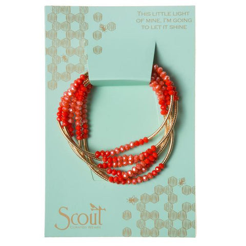Coral and Gold Crystal Wrap
