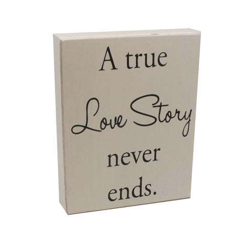a true love story box sign