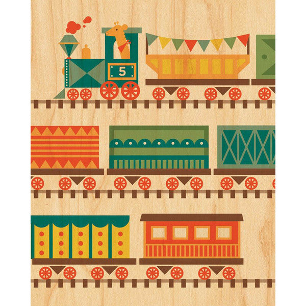Train Print on Wood