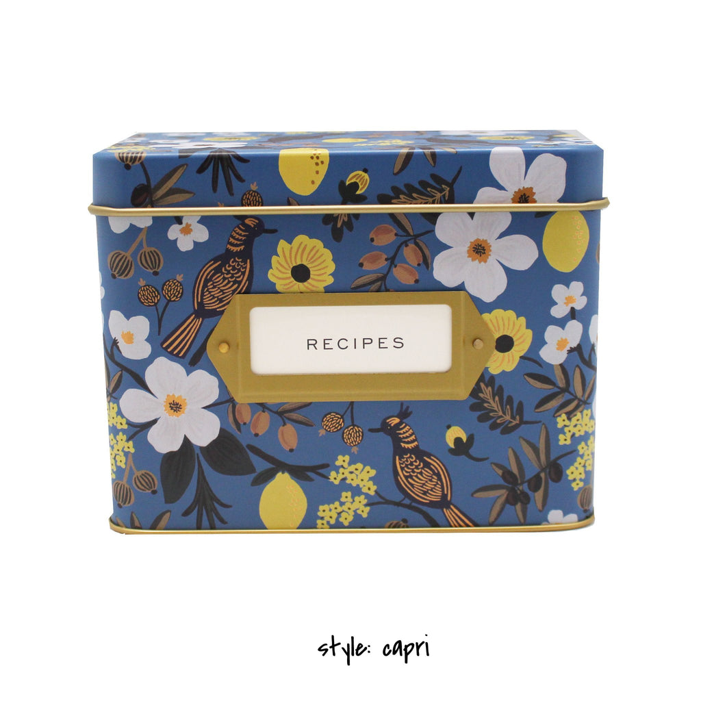 dark blue recipe box