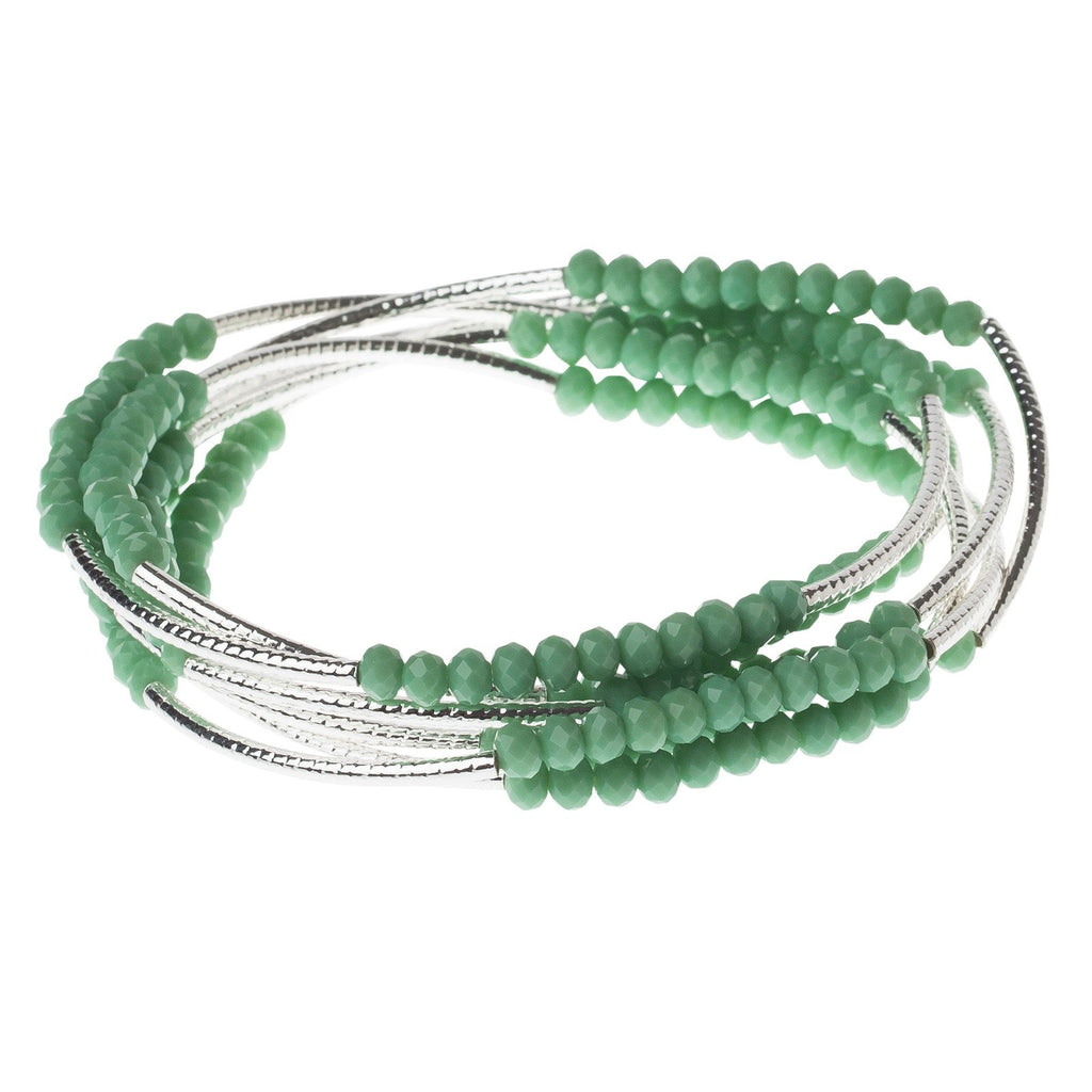 Green and Silver Crystal Wrap