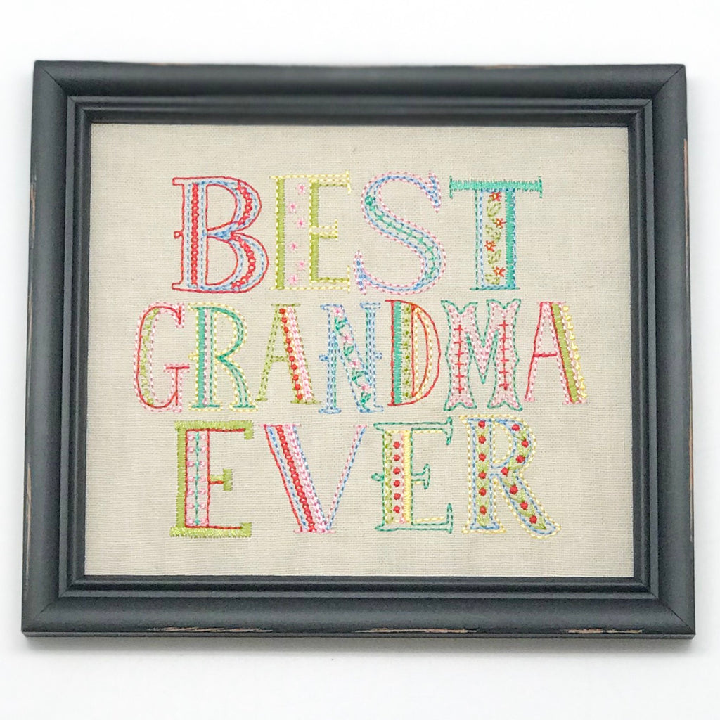 Best Grandma cross-stitched framed art