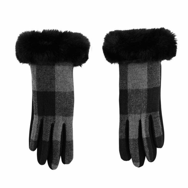 Gray Plaid Gloves with Fur Cuff