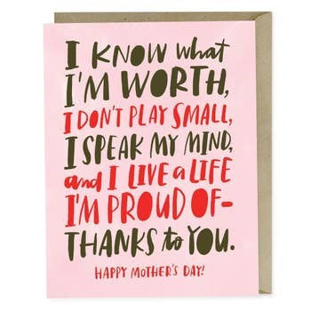 My Worth Mother's Day Card