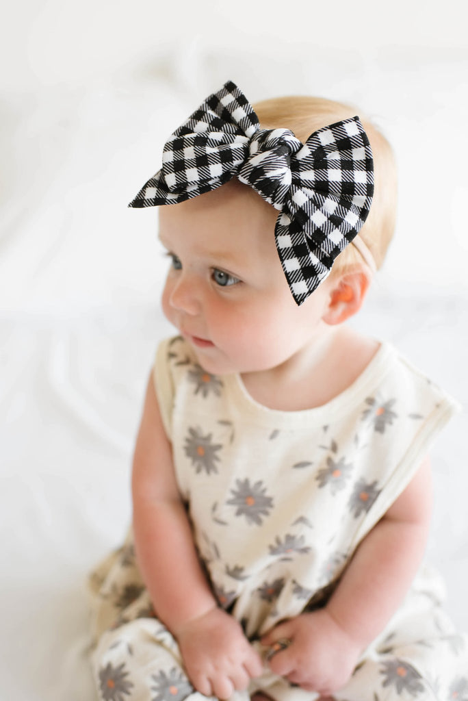 Black Gingham Skinny Headband
