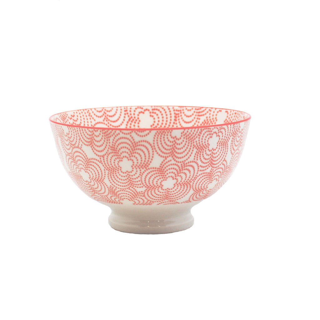 red patterned bowl