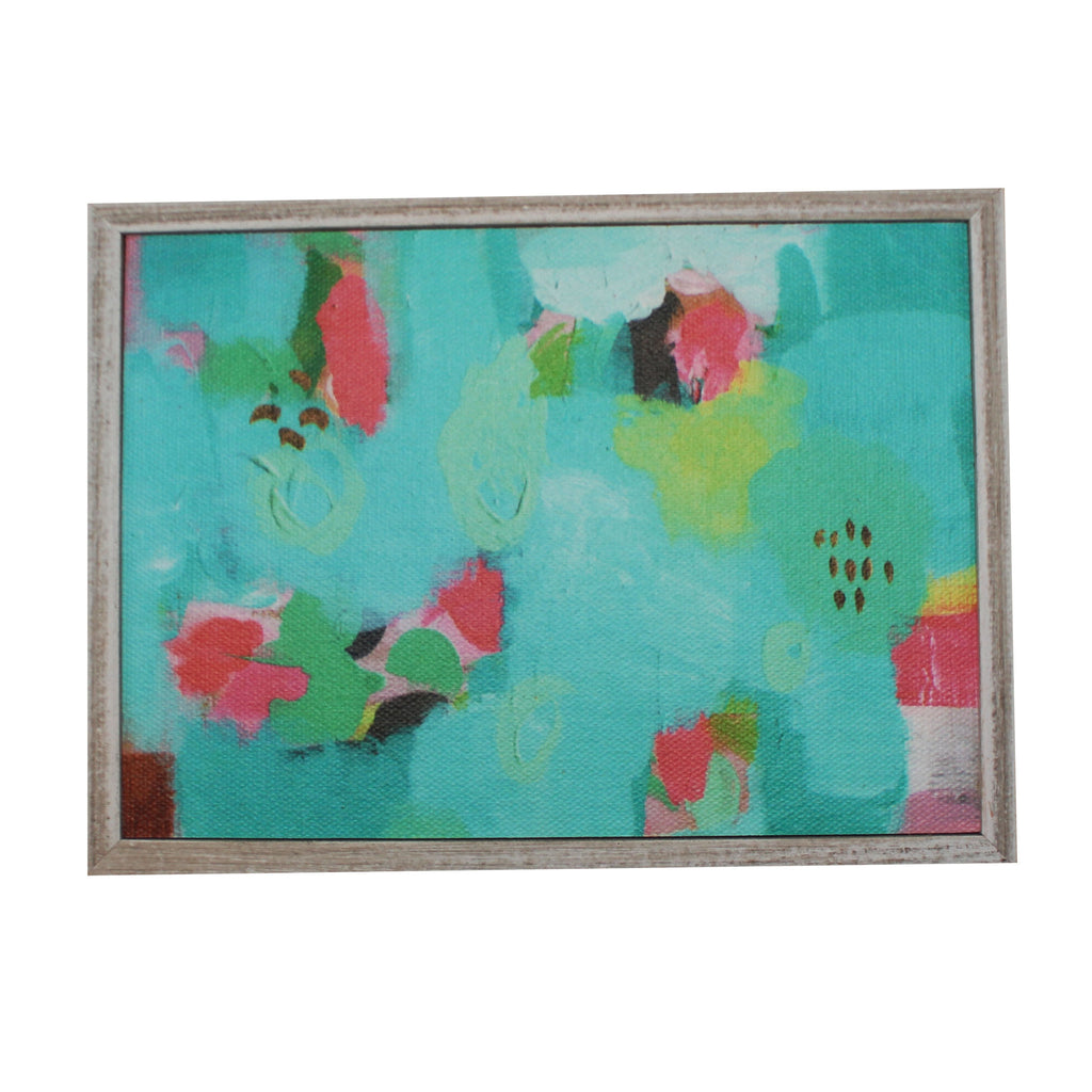 Blue Green Abstract Print on Canvas