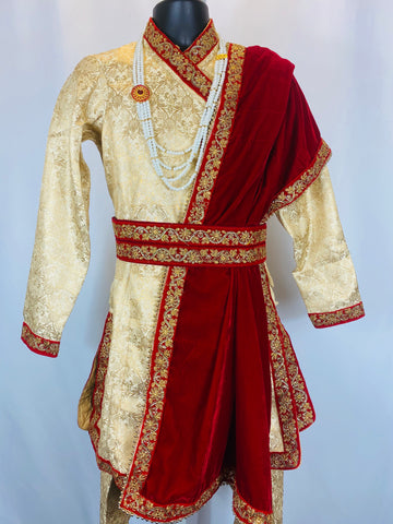 Groom aura suruwal set with shawl belt and shoes.High quality in any customize measurement