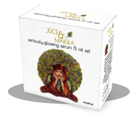 Moko Organics sister site carrying Juce and Marula glowing serum and oild set. White box with vintage red haired woman with a peacock behind her.