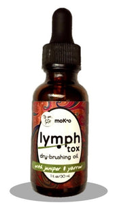 Lymph node circulation oil in dropper bottle for dry brushing and cellulite control.