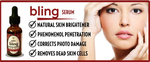 Bling Serum by The $10 Serum brightens skin, pentrates deeply, corrects photo damage and removes dead skin cells.