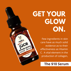 GET YOUR GLOW ON WITH Vitamin C Serum. Vitamin C is vital to increase the production of collagen.