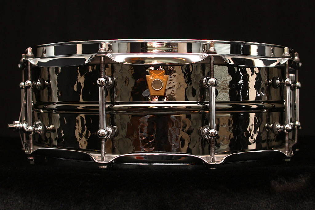 "Ludwig Black Beauty 5"" x 14"" Snare LB416KT: Hammered Shell, Tube Lugs"