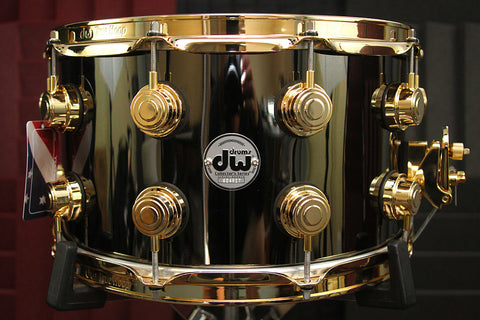 "DW Collectors Black Nickel Over Brass 8"" x 14"" Snare With Gold Hardware"