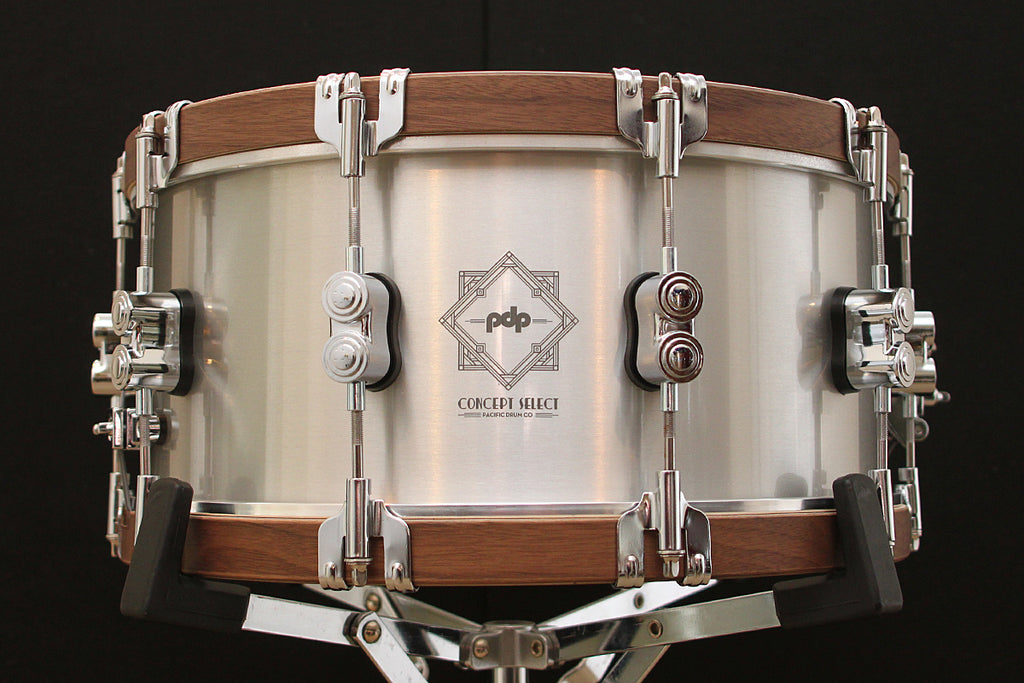 "PDP Concept Select 6.5"" x 14"" Aluminum Snare with Walnut Hoops"
