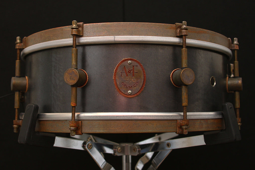 "A & F Drum Co 5"" x 14"" Raw Steel Snare"