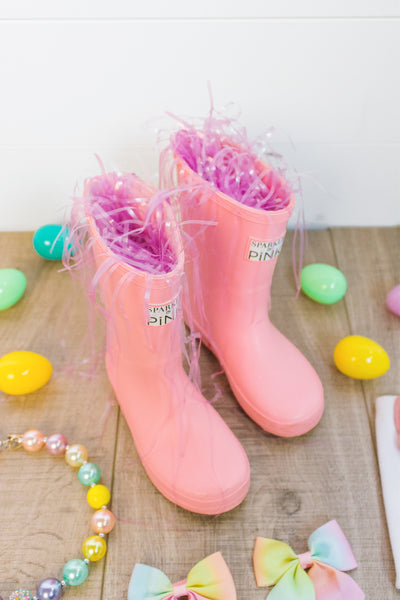 Sparkle In Pink Easter rain boot grass filler