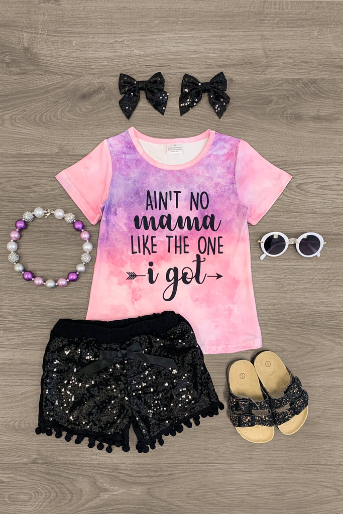 """Ain't No Mama..."" Sequin Short Set Outfit Sparkle In Pink"