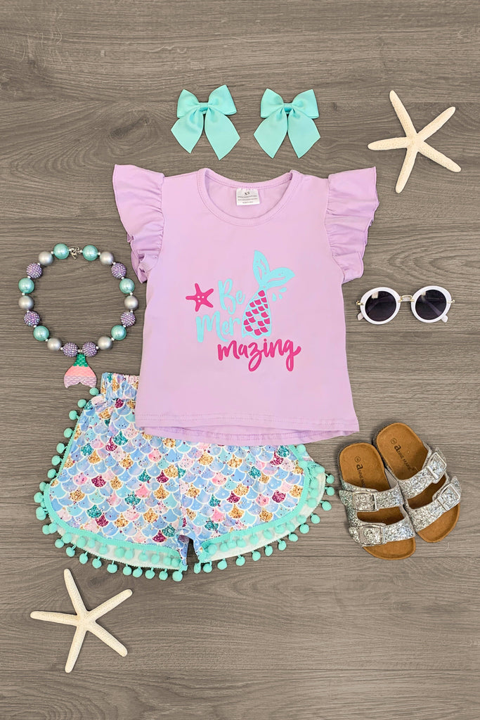 """Be Mer-Mazing"" Pom Pom Short Set Outfit Sparkle In Pink"