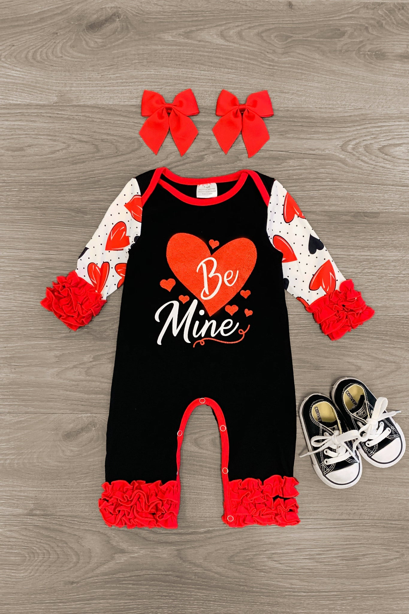 """Be Mine"" Black & Red Ruffle Romper - Sparkle in Pink"