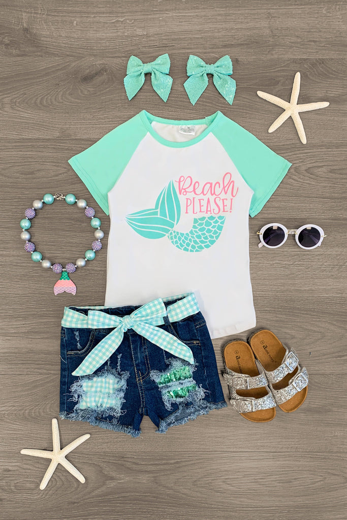 """Beach Please"" Mint Mermaid Tail Denim Short Set Outfit Sparkle In Pink"