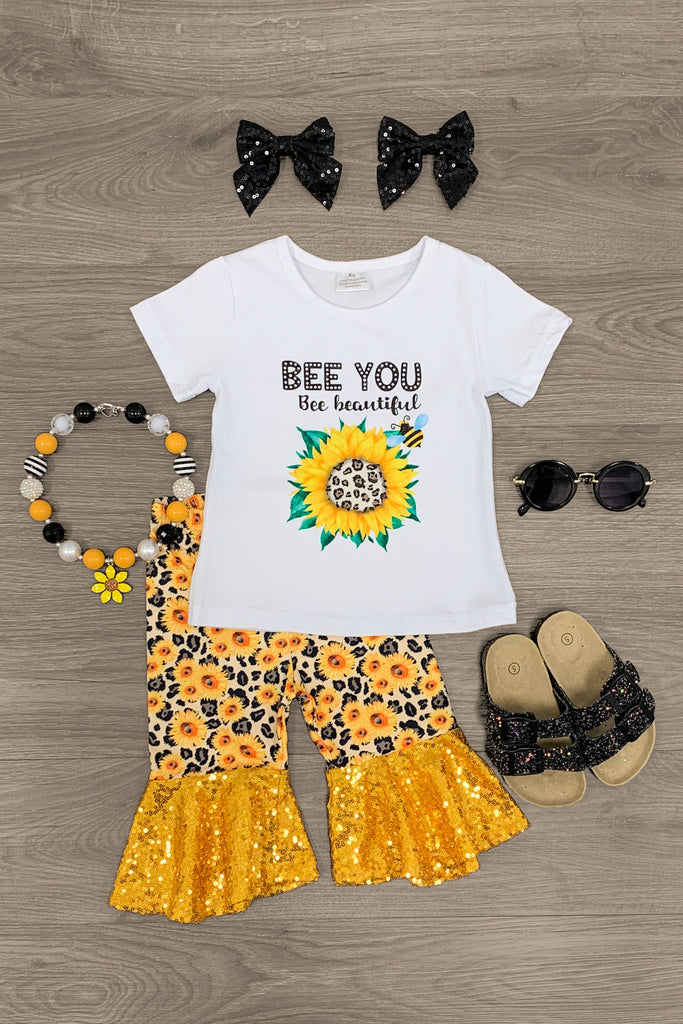 """Bee You Bee Beautiful"" Sunflower Cheetah Bell Bottom Set Outfit Sparkle In Pink"