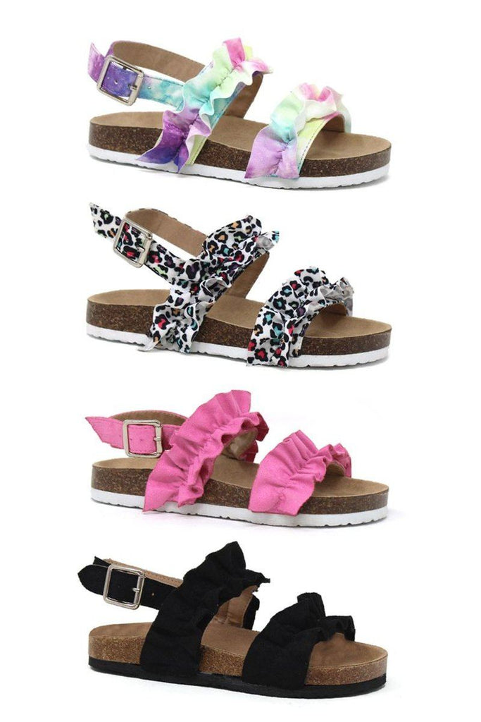 Birkley Ruffle Strap Sandals - MANY COLORS! Footwear Sparkle In Pink
