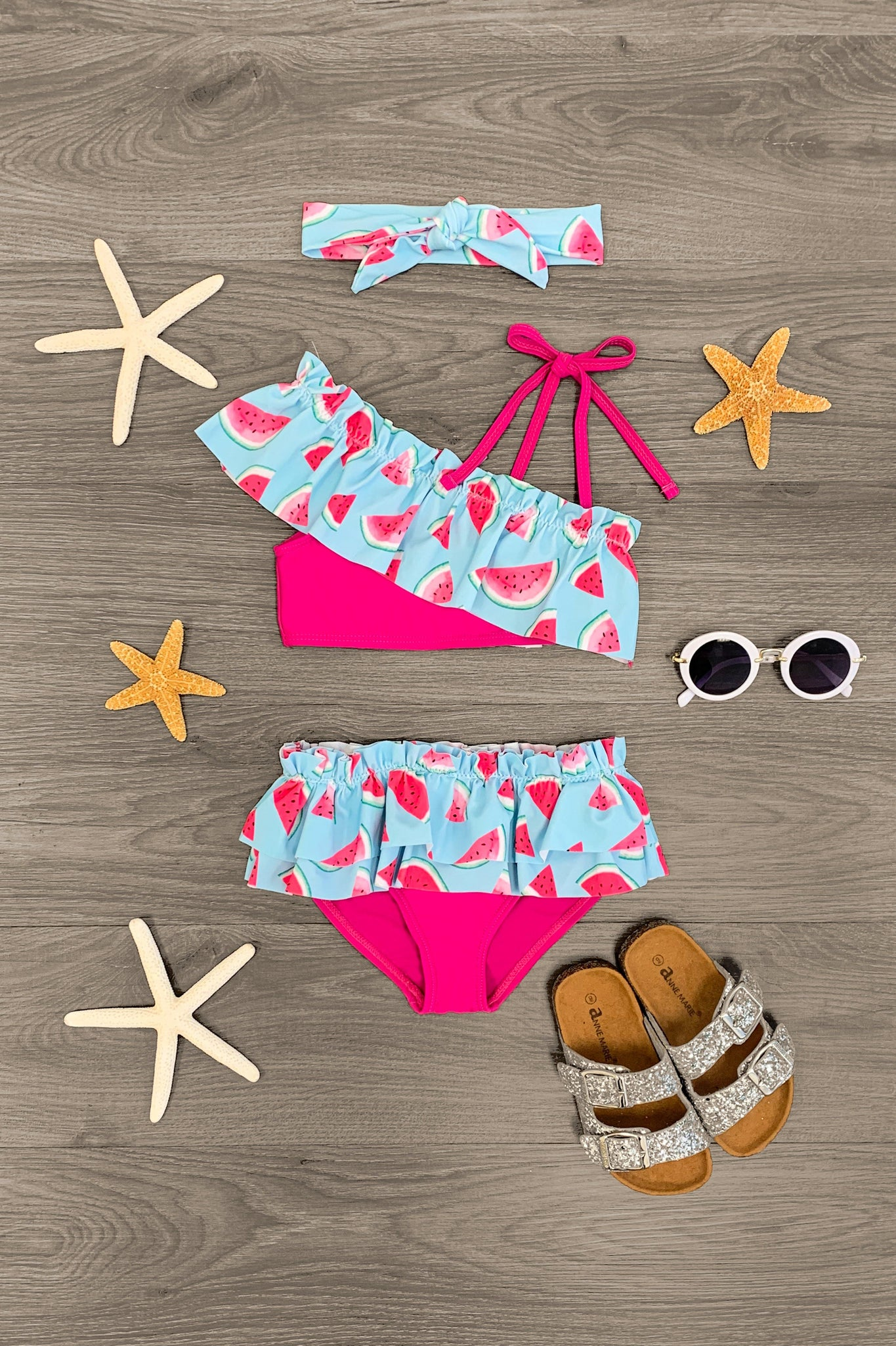 Blue & Pink Watermelon Swimsuit Set - 2 Piece - Sparkle in Pink