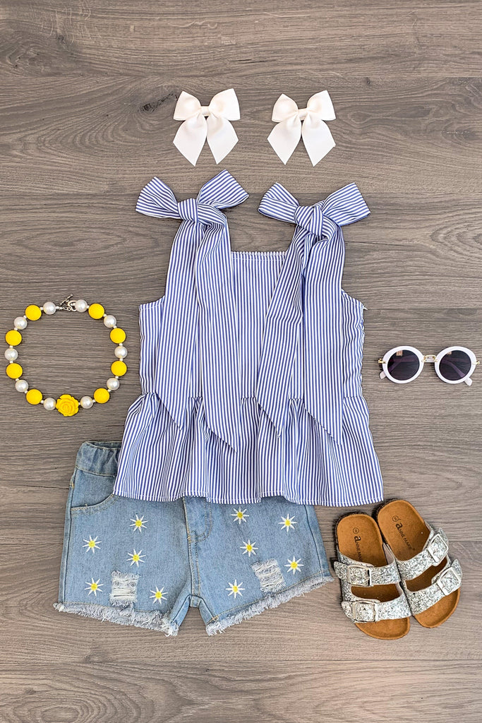 Blue Striped Linen Tank Daisy Denim Short Set Outfit Sparkle In Pink