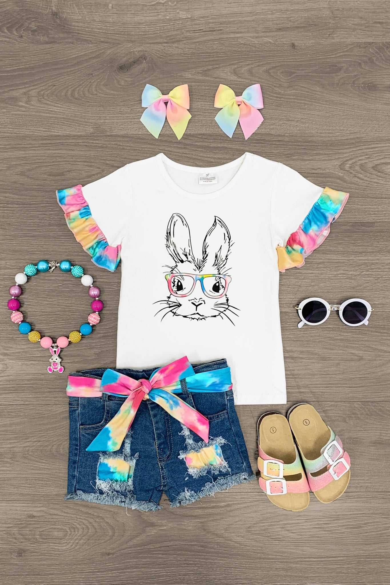 Bunny With Glasses Tie Dye Denim Short Set Outfit Sparkle In Pink