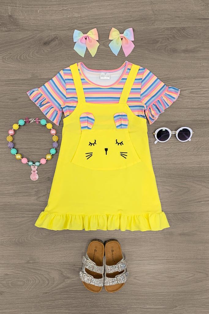 Bunny Yellow & Pastel Jumper Dress Dress Sparkle In Pink